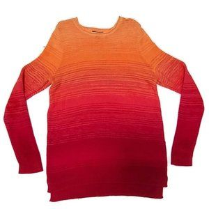 CHAPS Orange Red High Low Ombre Sweater Size 1X